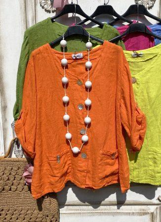Olasz, len kabátka, zsebekkel narancs színben:)))