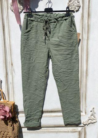 Olasz, extra kényelmes és rugalmas keki zöld nadrág:)))