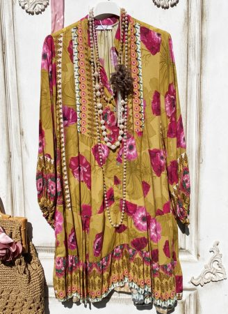 Olasz, virágos ruha/tunika, mustár alappal, hölgyeim: romantikára fel:)))